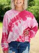 Crew Neck Ombre/tie-Dye Long Sleeve Shirts & Tops