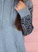 Gray Leopard Casual Shift Cotton-Blend Shirts & Tops