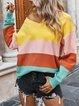 Plain Color-Block Long Sleeve V Neck Sweater