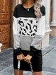 Color-Block Leopard Long Sleeve Dresses