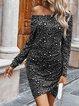 Off Shoulder Cotton-Blend Leopard Long Sleeve Dresses