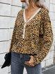 Long Sleeve Cotton-Blend Leopard Shirts & Tops