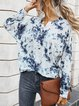 Cotton-Blend Long Sleeve Crew Neck Layered Tie-Dyed Shirts & Tops