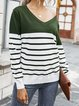 Casual V Neck Striped Long Sleeve Sweater