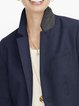 Navy Blue Shift Casual Lapel Outerwear