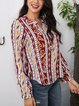 Red Casual Paneled V Neck Cotton-Blend Shirts & Tops