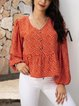 Red Casual V Neck Ruffled Shirts & Tops