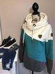 Blue Hoodie Long Sleeve Color-Block Sweatshirt