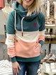 Navy Blue Hoodie Long Sleeve Color-Block Sweatshirt