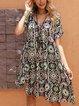 Black Floral V Neck Swing Holiday Dresses