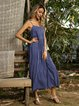 Blue Cotton Plain Casual Dresses