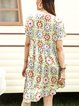 Yellow V Neck Casual Floral Dresses