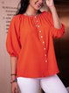 Red 3/4 Sleeve Crew Neck Cotton-Blend Shirts & Tops