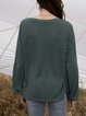 Green Long Sleeve Shift Shirts & Tops With Necklace