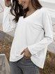 White Casual Long Sleeve Plain Shirts & Tops