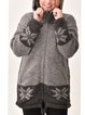 Retro hooded printed padded knitted coat