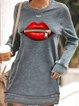 Casual Long Sleeve Round Neck Lips Print Mini Sweatshirt Dress