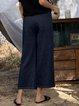 Blue Casual Cotton-Blend Paneled Pants