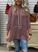 Striped Crew Neck Long Sleeve Split Hem T-shirt