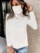 Turtleneck Plain Casual Long Sleeve T-Shirts