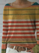 Plus size Crew Neck Striped Shirts & Tops
