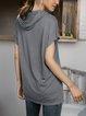 Gray Cotton-Blend Short Sleeve Shirts & Tops