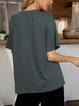Green 3/4 Sleeve Crew Neck Shirts & Tops