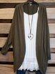 Long Sleeve Casual Cotton-Blend Plain Outerwear