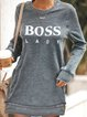 Casual Round Neck Boss Lady Print Mini Sweatshirt Dress