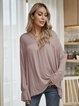 Pink Cotton-Blend Plain Long Sleeve Shirts & Tops