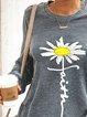 Floral Print Round Neck Mini Sweatshirt Dress