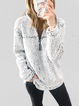 Light Gray Casual Cotton-Blend Zipper Sweatshirt