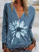 Blue V Neck Vintage Shirts & Tops