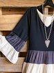 Patchwork V-Neck Long Top Short Dress