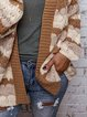 Knitted Color Block Long Sleeve Cardigan Coat