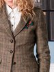 Coffee Vintage Lapel Checkered/plaid Outerwear