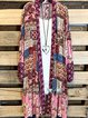 Multicolor Tribal Casual Cotton-Blend Outerwear