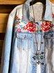Blue Casual Cotton-Blend Shift Floral Outerwear