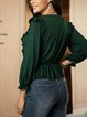 Green V Neck Cotton-Blend Paneled Long Sleeve Shirts & Tops