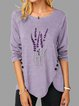 Purple Long Sleeve Crew Neck Shirts & Tops