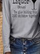 Vintage Statment Liquor Letter Printed Long Sleeve Crew Neck Casual Tops