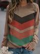 Plus size Crew Neck Casual Striped Sweatshirt