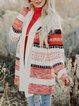 Open Front Side Striped Pattern Cardigan Coat