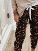 Halloween Face Print Casual Pants