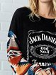 Casuall Round Neck Whiskey Arm Print Sweatshirt