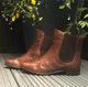 Brown Leather Low Heel Boots