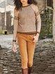 Brown Long Sleeve Crew Neck Sweater