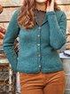 Blue Acrylic Plain Casual Sweater