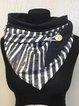 Deep Blue Cotton-Blend Striped Buttoned Scarves & Shawls