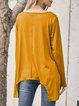 Yellow V Neck Plain Long Sleeve Cotton-Blend Shirts & Tops